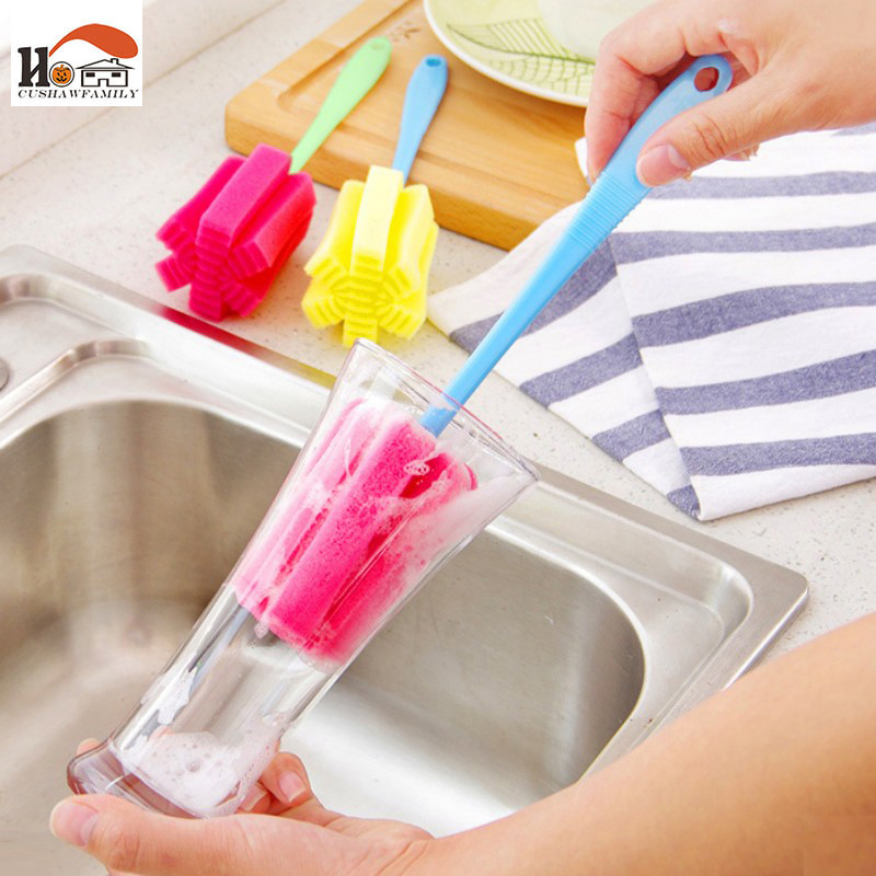 2 pcs/lot Color brush bowl dishes Tableware clean cup brush sponge brush kitchen cleaner tool home brushes Cleaning products image