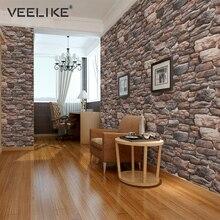 Waterproof Vinyl Self adhesive Wallpaper Modern Vintage Brick Stone Pattern PVC Wall Stickers For Living Room Bedroom Home Decor