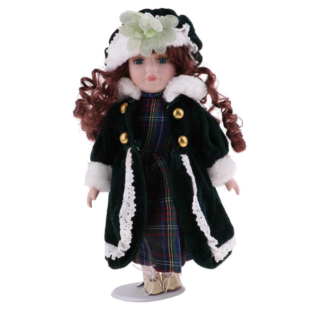 30 см винтажное платье в клетку для девочек костюм шапочка миниатюрный кукольный домик аксессуар фарфоровые куклы Коллекция