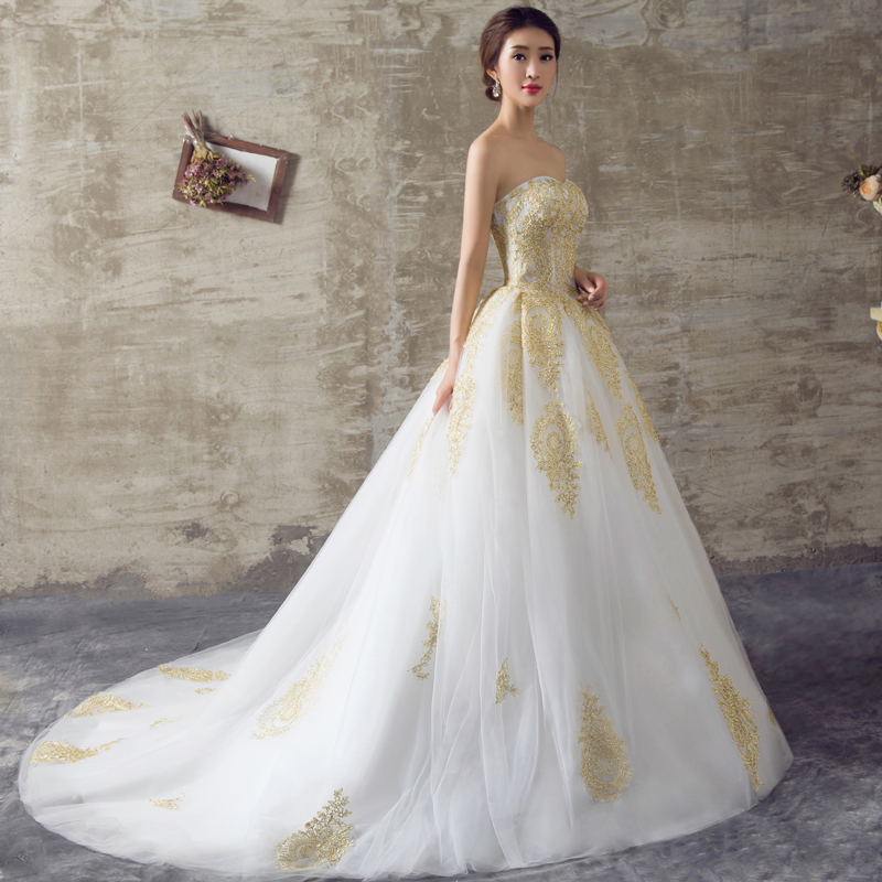 aliexpresscom buy elegant ball gown gold lace wedding dresses 2017 with appliique vestido de noiva plus size long bridal gowns custom made rkw4 from