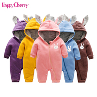 Newborn Baby Rompers Infant Girls Boys Cotton Clothes Cute Bunny Ear Jumpsuit Playsuit Autumn Winter Warm Bebes Rompers