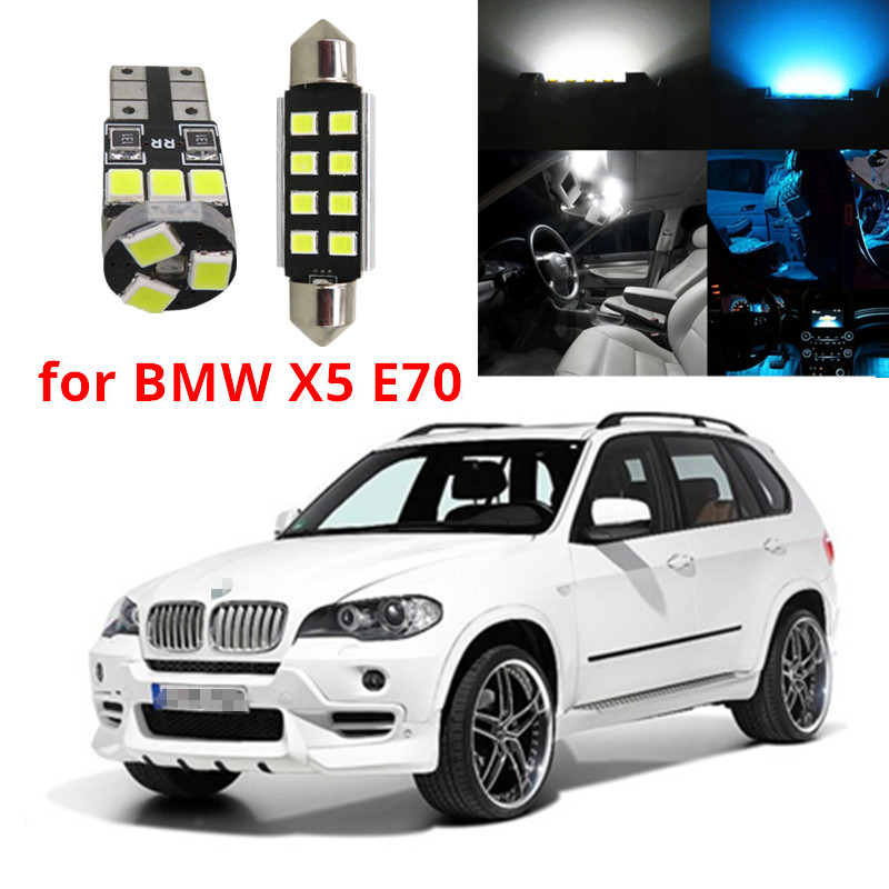 WLJH 20x Canbus blanco puro Sin error Cúpula del coche Vanity Puddle Footwell Trunk Light LED Kit de luz interior para BMW X5 E70 2007-2013