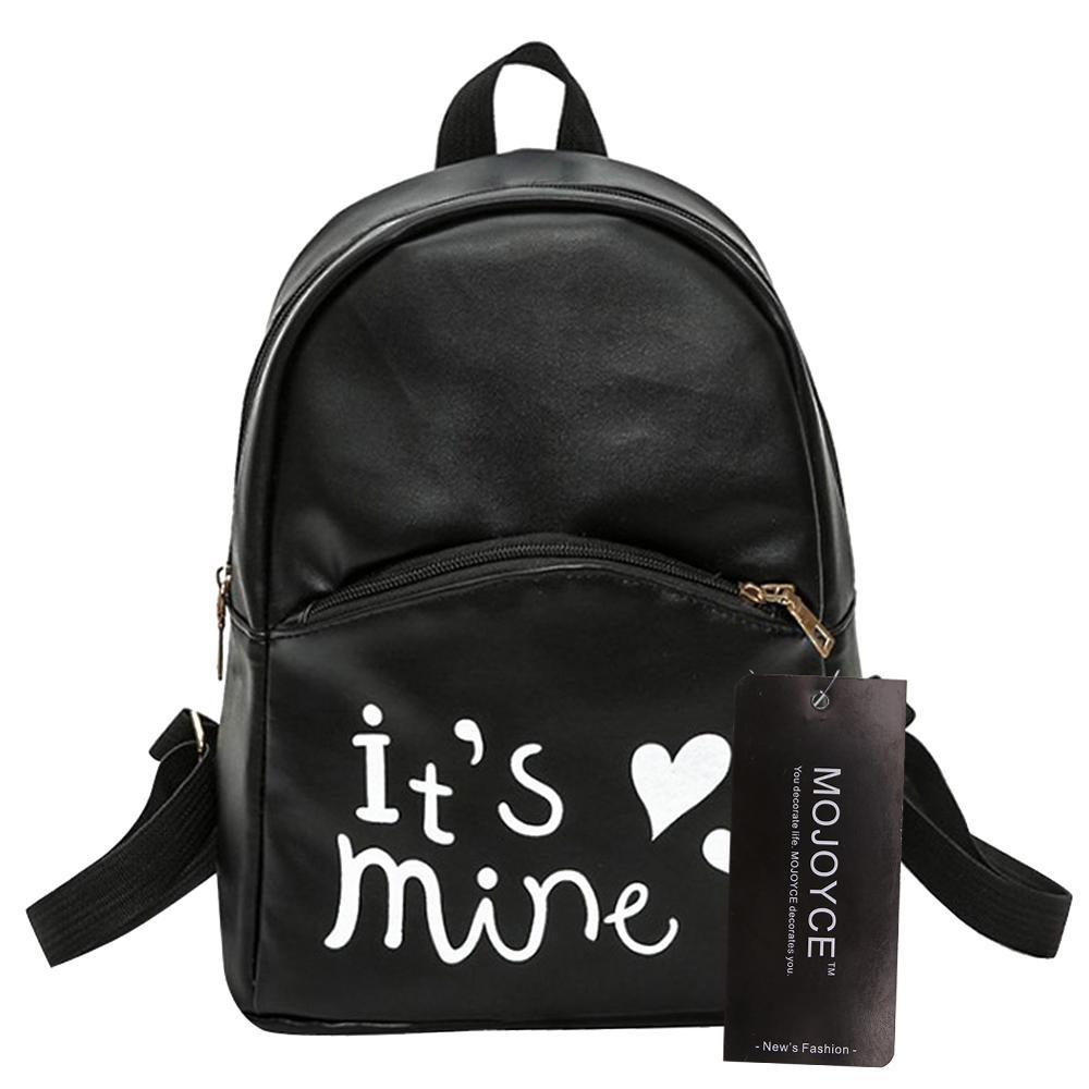 Preppy Chic Women PU Leather Backpack Fashion Female Backpack Mini Letter Printed School Bags For Teen Girls Rucksack Mochila