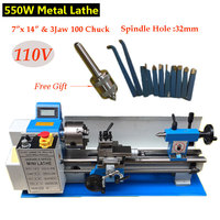 550W Mini Metal Lathe 110V 50Hz Variable Speed Lathe 7 x 14 Bench Top & 3Jaw 100mm Lathe Chuck Thread Jade Processing