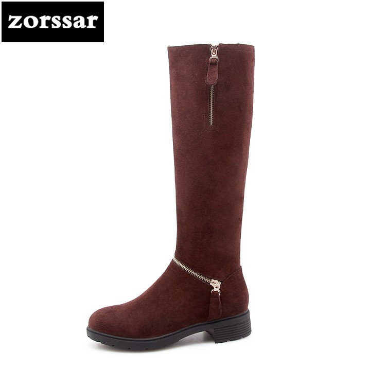{Zorssar} 2019 New Fashion Women Snow Boots Winter Warm plush Thigh High Boots cow Suede leather Flat heel Women Knee High Boots zorssar 2019 new fashion female snow boots winter plush thigh high boots suede leather flat heel women over the knee boots