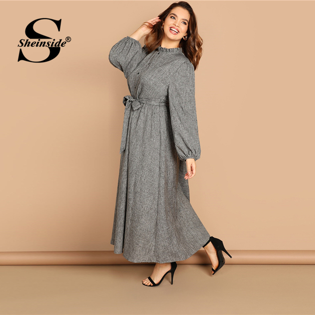 Sheinside Plus Size Casual Grey Ruffle Detail Dress Women Button Belted Shift Dresses Spring Elegant Stand Collar Maxi Dress 2