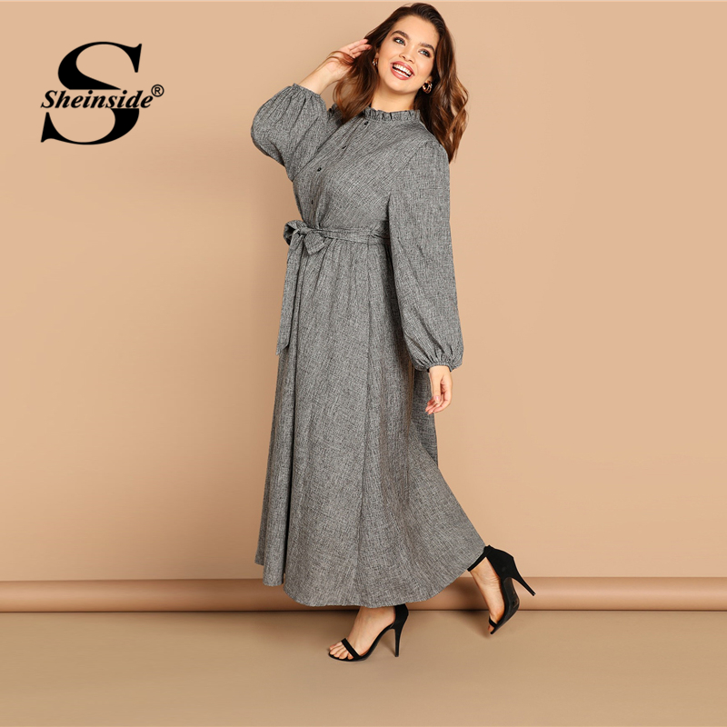 Image 3 - Sheinside Plus Size Casual Grey Ruffle Detail Dress Women Button Belted Shift Dresses Spring Elegant Stand Collar Maxi Dress-in Dresses from Women's Clothing