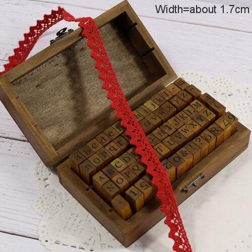 Zakka Стиль хлопковая кружевная лента швейная лента, бежевая Кружевная Сетка, крутая кружевная тесьма(17 мм x 50 ярдов - Цвет: Red