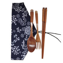 3 Pcs/set Eco-friendly Japanese Vintage Wooden Handmade Natural Wood Spoon+Fork+Cloth Bag Best Gift Dinner Table Decoration gift(China)