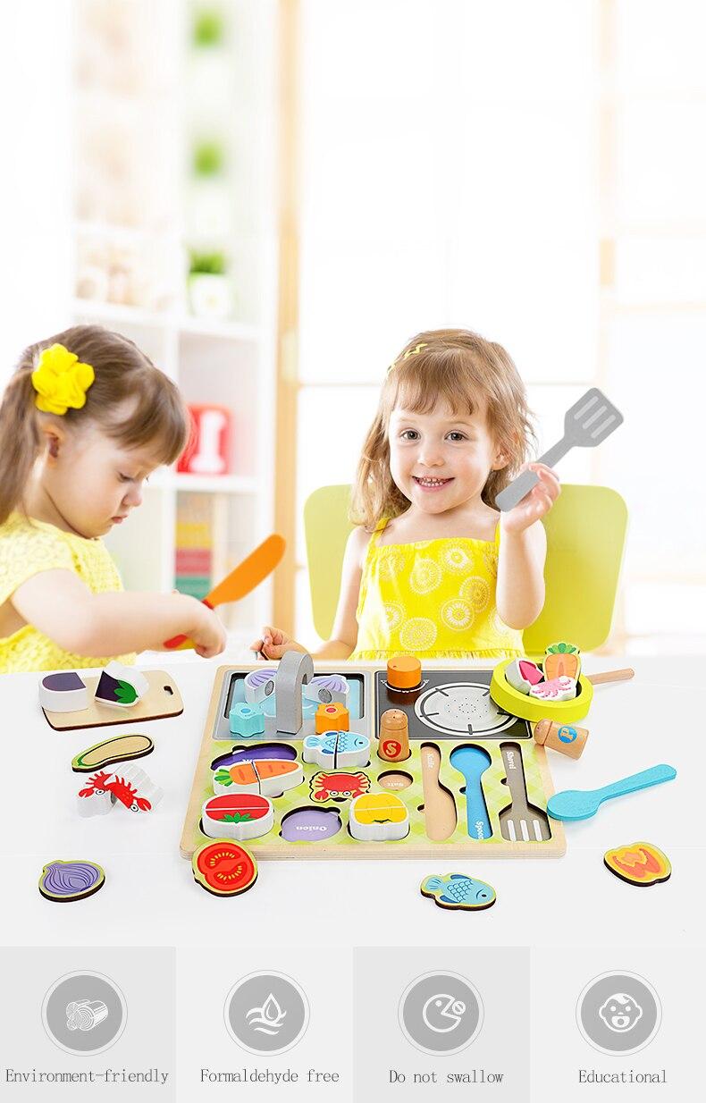 Zalami comida de madeira brinquedo educativo cozinha