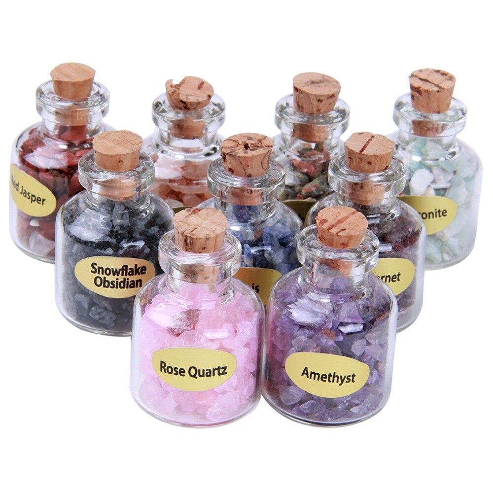 9 pcs Mini Pierres Bouteilles Naturel Semi-précieuses Cristal Guérison Mini Pierres Roulées Reiki Wicca Puces avec la Boîte