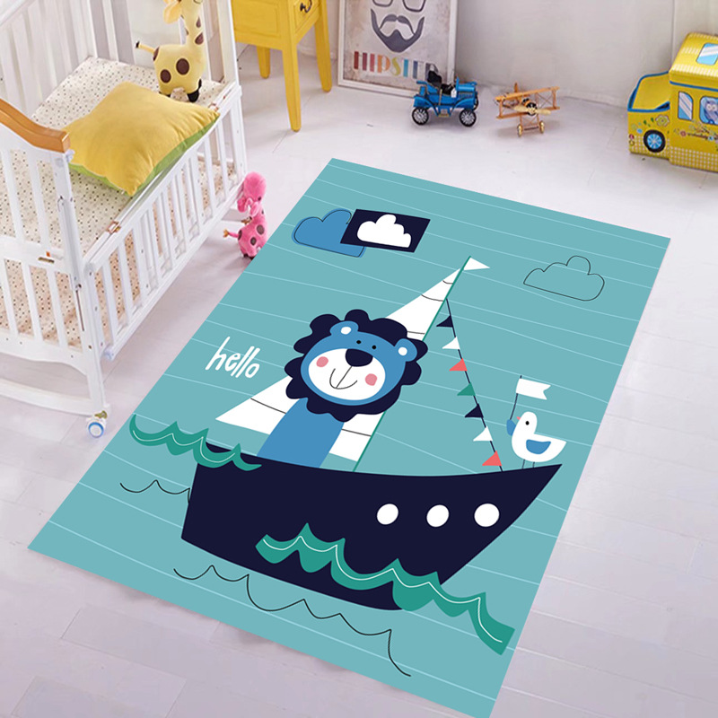 Tapis de sol motif dessin animé bleu Lion imprimé enfants tapis pour salon chambre tapis chambre enfant tapis de jeu maison Textile Pad