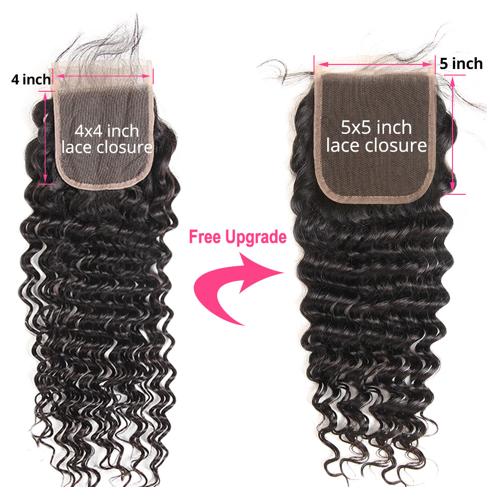 Deep Wave Bundles With 5x5 Closure Brazilian Human Hair 3 Bundles With Closure 6x6 Free Part Remy Hair Extensions AliPearl Hair