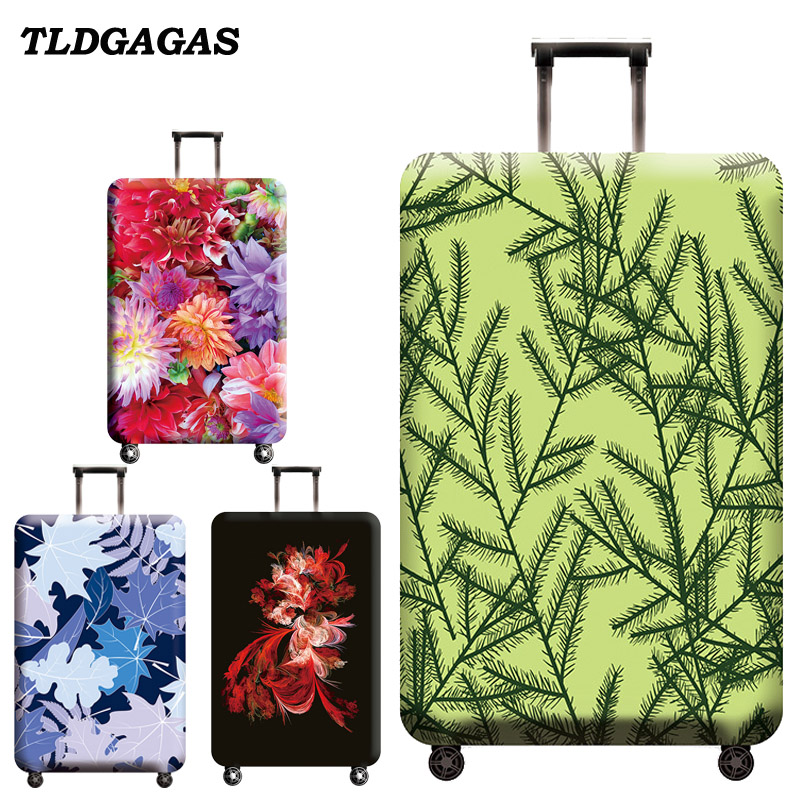 TLDGAGAS Elastic Fabric Plant Pattern Luggage Protective Cover Suit 18-32 Inch Trolley Case Suitcase Cover Travel Accessories