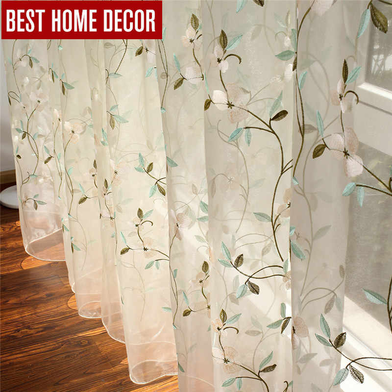 BHD embroidered floral tulle curtain for window curtains for living room the bedroom pastoral tulle curtains fabric drapes