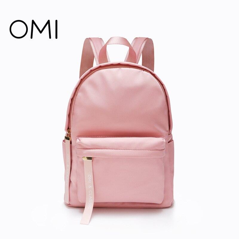 OMI handbag 2018 new shoulder bag solid color backpack pink student backpack fashion small bag pink solid color off shoulder crop bodycon sweaters vests