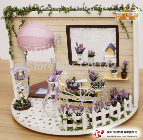 I001 Lavender Story can rotate 360 degrees diy miniature dollhouse doll house