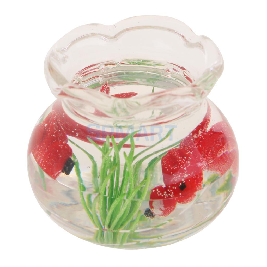 Miniature Fish Tank Bowl 1:12 Dolls House Decor Ornament