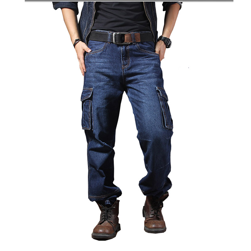 Mcikkny Fashion Men's Cargo Jean Pants With Multi-pockets Loose Style Motorcycle Denim Trousers For Male Washed Size 29-44