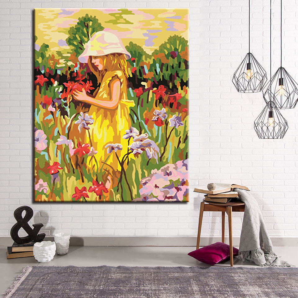 Aliexpress.com : Buy Flower And Little Girl Diy Painting ...
