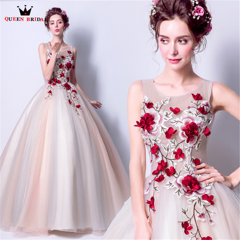 QUEEN BRIDAL Evening Dresses Fluffy Ball Gown 3D Flowers Tulle Long Women Party Dress Gowns 2018