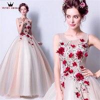 Reina vestidos de noche nupcial bola esponjosa 3D flores tulle largo vestido de fiesta de las mujeres vestidos 2018 nuevo vestido de festa LS81