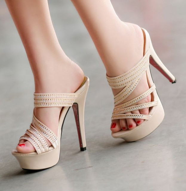 Summer sexy Sandals for woman 13cm ultra high heels slippers thin ...
