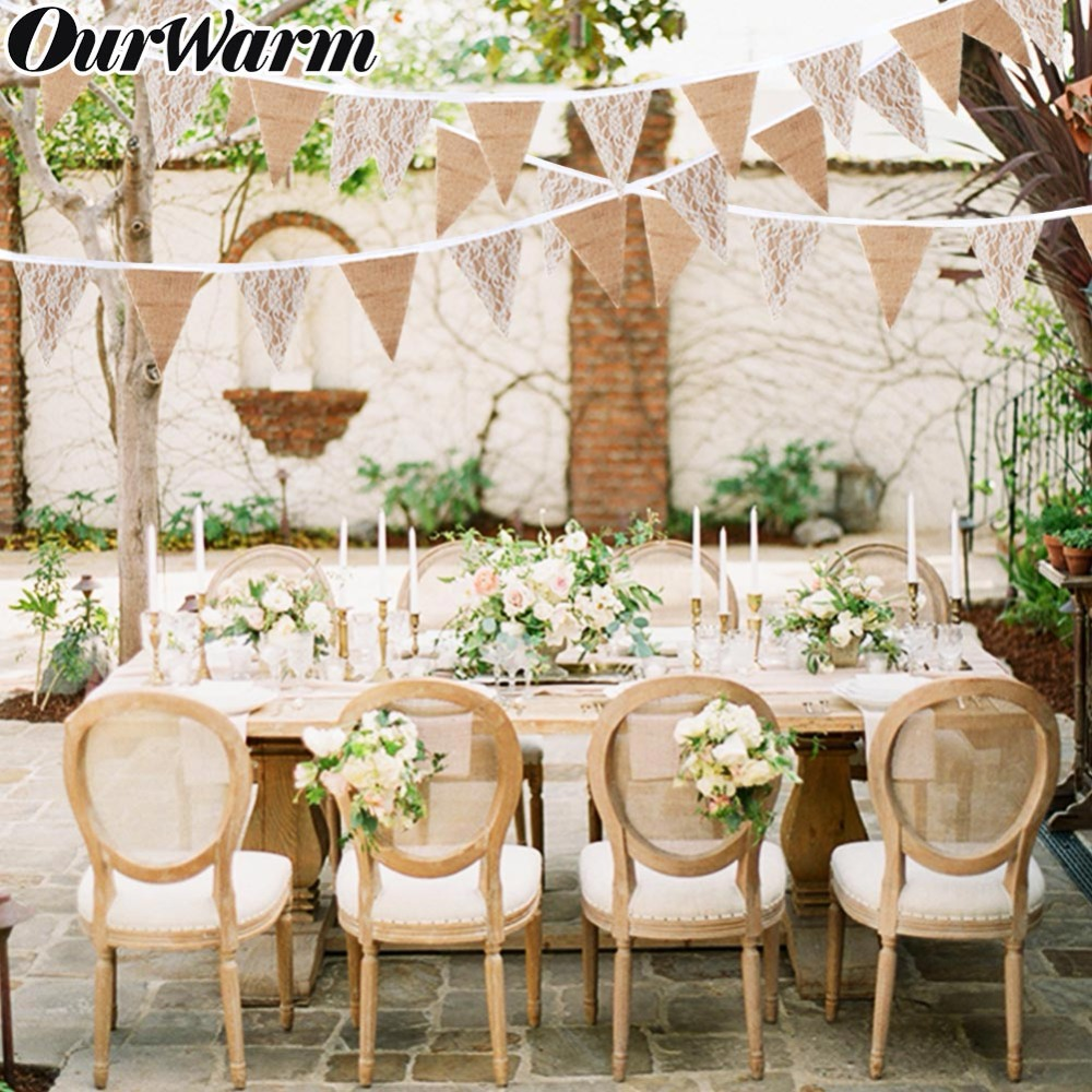 OurWarm 3m Vintage Jute Hessian wedding decoration banner background Natural Burlap Ribbon 13 Flags For Party Supplies(China)