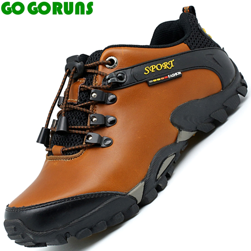 цена на men outdoor climbing hiking shoes non slip waterproof breathable genuine leather men hiking shoes hunting trekking shoes 388s