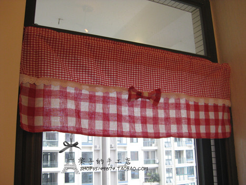 Free Shipping Cute Red Plaid Bow Stitching Rustic Kitchen Curtains For Living Room Bedroom Coffee Curtain 85 30 50cm Customized