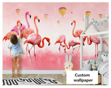 beibehang Modern minimalist hand drawn flamingo feather wallpaper Nordic bedroom stereo background wall papers home decor behang