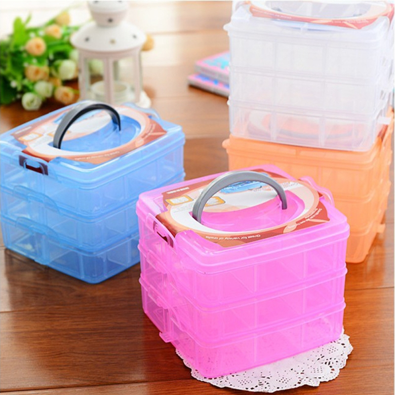 3 Layers Jewelry Box Ring Earring Necklace Case Gift Box Plastic Jewelry Storage Case Organizer Portable Jewelry Box Household