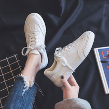 Woman Leather Shoes 2019 New Fashion Casual High Quality Soild Leather Women Casual Lace up Flats Vulcanize Shoes Sneakers