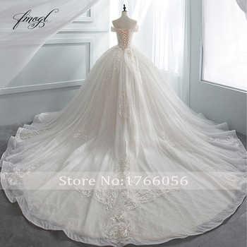 Fmogl Luxury Sweetheart Lace Ball Gown Wedding Dress 2019 Chapel Train Appliques Crystal Bride dresses Vestido De Noiva