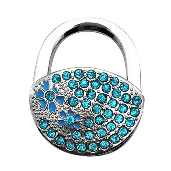 HOT GCZW-Trendy Rhinestone Flower Design Decor Folding Handbag Table Hook Desk Purse Hanger Pothook for Ladies