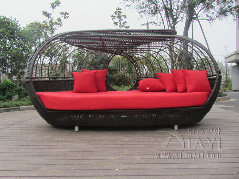 Luxury Outdoor Rattan Daybed With Canopy Outdoor Furniture Sun Lougner For  Patio Transport By Sea In Sun Loungers From Furniture On Aliexpress.com |  Alibaba ...