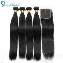 Panse الشعر مستقيم البرازيلي الإنسان الشعر النسيج 4 حزم في الكثير الإنسان الشعر مع إغلاق مخصصة 8 28 بوصة غير شعر ريمي
