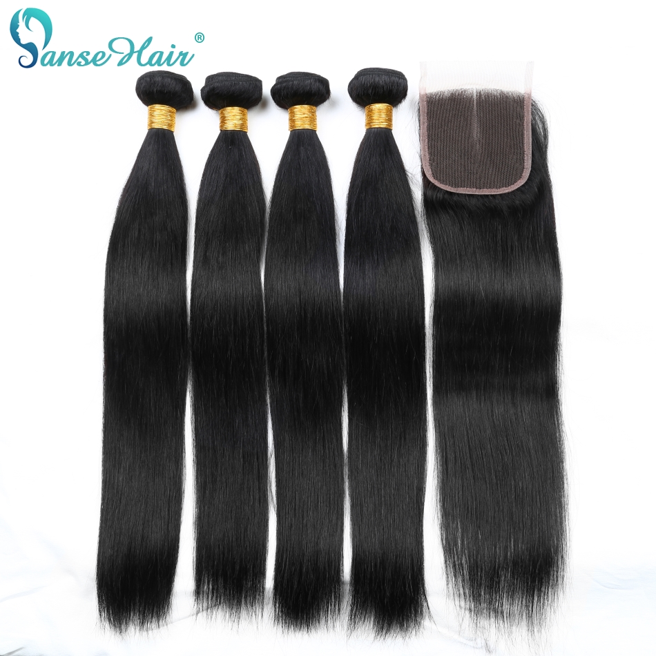 Panse Hair Straight Brasilian Human Hair Weaving 4 Bundles Per Lot - Menneskehår (sort)