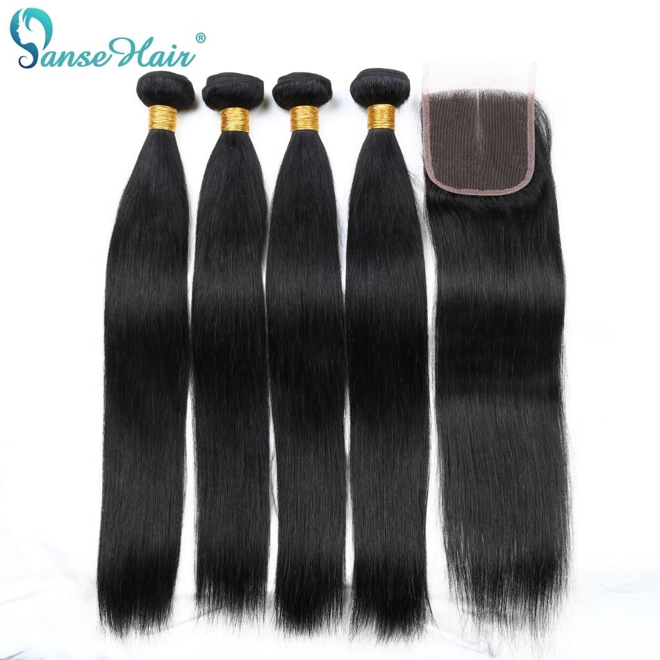 Panse Hair Straight Brazilian Human Hair Weaving 4 Bundles Per Lot Human Hair With Closure Customized 8-28 Inches Non Remy Hair