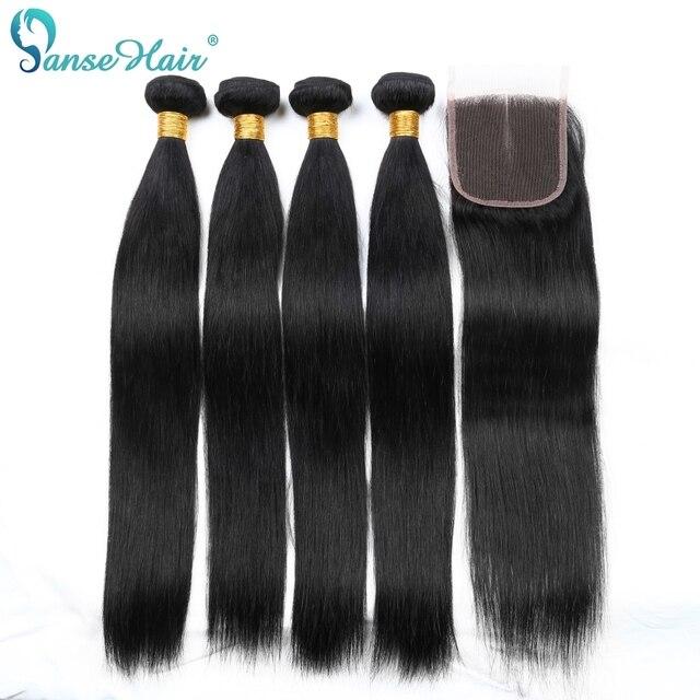 Panse Saç Düz Brezilyalı İnsan Saç Dokuma 4 Demetleri Lot Başına İnsan Saç kapatma ile Özelleştirilmiş 8 28 Inç olmayan Remy Saç
