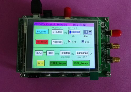 1PC ADF5355 Module Touch Color Screen Sweep RF Signal Source VCO Microwave Frequency Synthesizer PLL