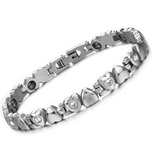 Romantic Heart Design Woman Magnet Bracelets Fashion Stainless Steel with Cubic Zirconia Health Care Women Jewelry GS3022