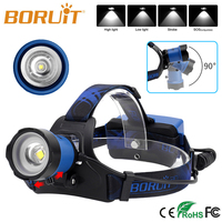 Boruit B13 LED Headlamp Rechargeable Zoomable Head Light Waterproof Torch Lights 4 Mode XM L2 USB Zoom headlight 6000lm blue SOS