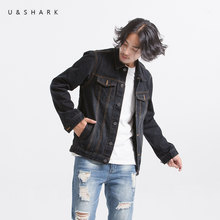U&SHARK Autumn Classic Denim Jacket Men Brand Clothing 100% Cotton Black Jeans Jackets Coats Slim Fit Men Casual Overcoat Male(China)
