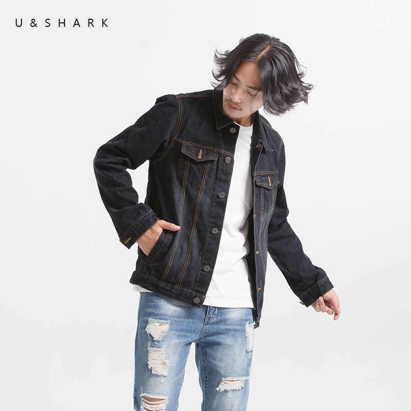 f0dd0ba30409 U&SHARK Autumn Classic Denim Jacket Men Brand Clothing 100% Cotton Black  Jeans Jackets Coats Slim