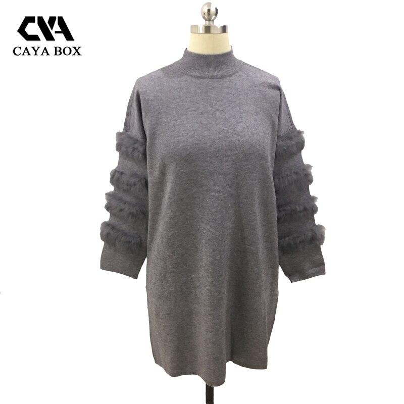 CAYA BOX Rabbit real Fur Sweater Dress Autumn Long Sleeve splice Jumpers Women Long Sweaters Knitted