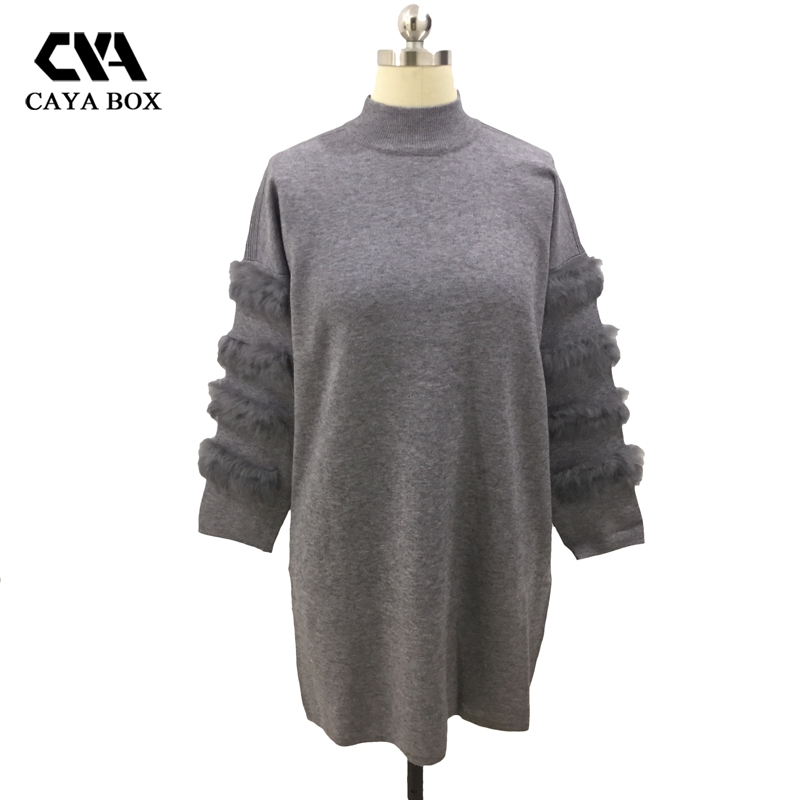 CAYA BOX Rabbit real Fur Sweater Dress Autumn Long Sleeve splice Jumpers Women Long Sweaters Knitted Dresses Plus Size Clothing