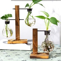 Vintage Style Glass Tabletop Plant Bonsai Flower Wedding Decorative Vase With Wooden L T Shape Tray