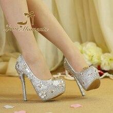 Love Moment Sparkling crystal wedding shoes bride rhinestone high heels shoes bridal party banquet diamond wedding dress shoes
