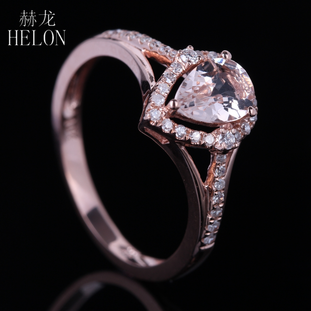HELON 5X7mm Pear 0.6ct Morganite Real Natural Diamonds Engagement Wedding Ring Solid 10K Rose Gold Women's Elegant Jewelry Ring solid 14k white gold rose gold natural diamonds 5x7mm pear morganite ring wedding engagement fine jewelry